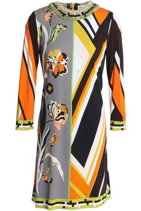EMILIO PUCCI Embellished printed jersey mini dress