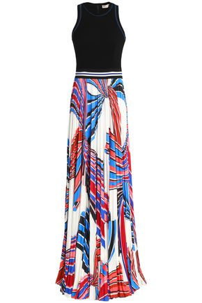 EMILIO PUCCI Pleated printed stretch-jersey and ponte maxi dress