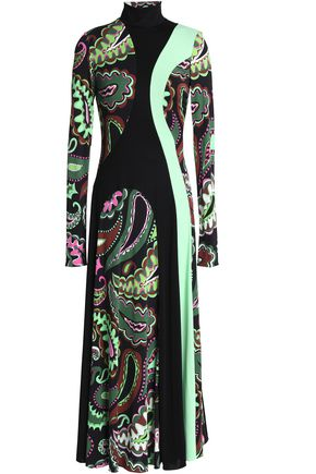 EMILIO PUCCI Cutout printed stretch-jersey turtleneck midi dress
