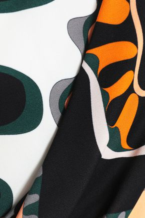 EMILIO PUCCI Wrap-effect cutout printed jersey top