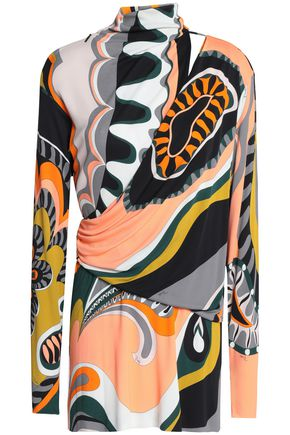 EMILIO PUCCI Wrap-effect cutout printed jersey top
