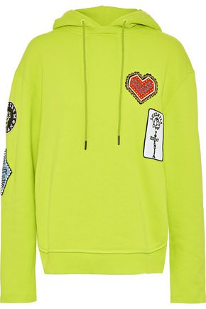 OPENING CEREMONY Appliquéd neon cotton-fleece hooded sweatshirt