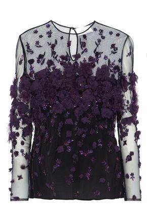 ZUHAIR MURAD Embellished tulle-paneled silk-blend blouse