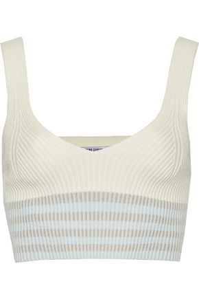 OPENING CEREMONY Cropped striped ribbed-knit top