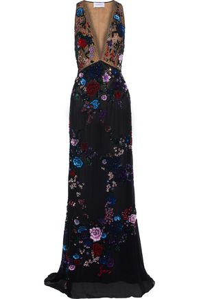 ZUHAIR MURAD Embellished point d'esprit and chiffon gown