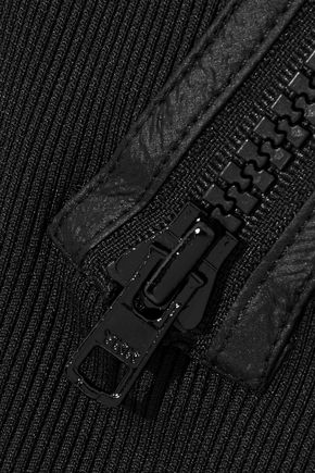 OPENING CEREMONY Shell-paneled zip-detailed ribbed-knit mini dress