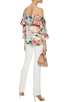 ALICE + OLIVIA Marylee cold-shoulder floral-print fil coupé top