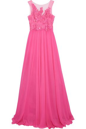 ZUHAIR MURAD Embellished tulle-paneled silk-blend chiffon gown