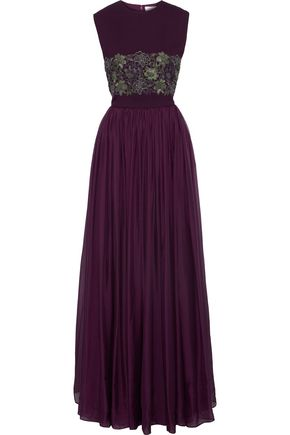 ZUHAIR MURAD Guipure lace-paneled crepe and organza gown