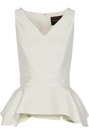 CAROLINA HERRERA Satin-faille peplum top