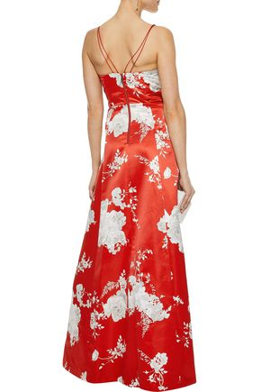 ALICE + OLIVIA Rai cutout floral-print satin gown