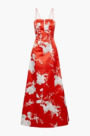 ALICE + OLIVIA JEANS Rai cutout floral-print satin gown