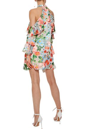 ALICE + OLIVIA Blayne cold-shoulder floral-print fil coupé mini dress