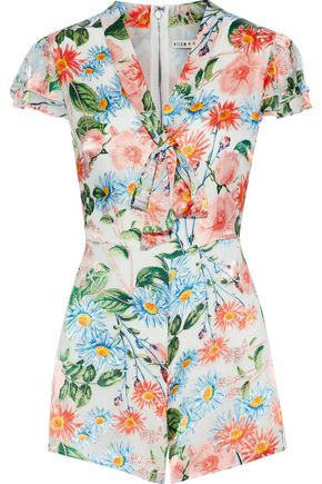 ALICE + OLIVIA Floral-print fil coupé playsuit