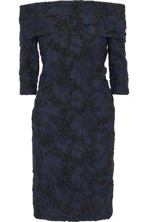 CAROLINA HERRERA Off-the-shoulder metallic jacquard dress