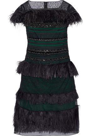 CAROLINA HERRERA Embellished paneled lace, mesh and organza dress