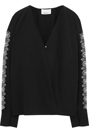 3.1 PHILLIP LIM Wrap-effect lace-paneled silk top