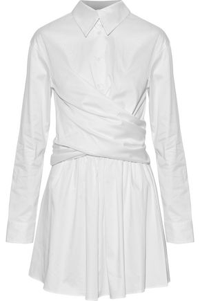 OPENING CEREMONY Wrap-effect cotton-blend sateen mini dress