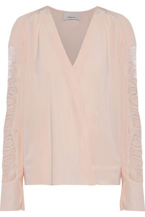 3.1 PHILLIP LIM Lace-paneled silk blouse