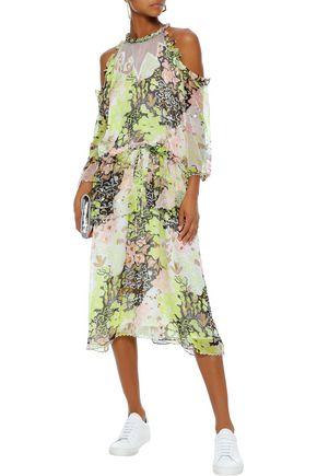 OPENING CEREMONY Cold-shoulder embellished printed georgette midi dress