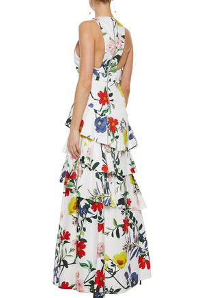 ALICE + OLIVIA Flossie tiered floral-print cotton-blend gown