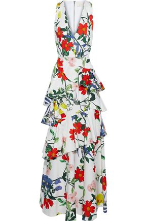 ALICE + OLIVIA JEANS Flossie tiered floral-print cotton-blend gown