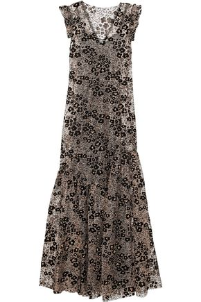 OPENING CEREMONY Bead-embellished flocked metallic open-knit maxi dress
