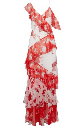 01dae02be0a ALICE + OLIVIA Olympia tiered floral-print chiffon maxi dress