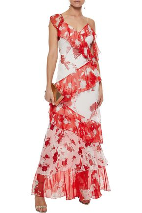 ALICE + OLIVIA Olympia tiered floral-print chiffon maxi dress