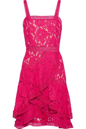 ALICE + OLIVIA Angelita ruffled cotton-blend guipure lace dress