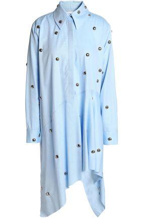 MARQUES' ALMEIDA Asymmetric studded cotton-poplin mini shirt dress