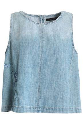 J BRAND Talya embroidered faded denim top
