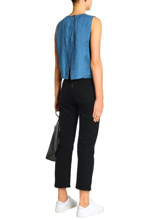 J BRAND Daia split-back linen-chambray top