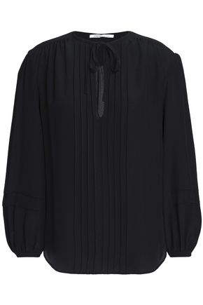 AGNONA Pintucked silk crepe de chine blouse