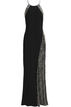 BADGLEY MISCHKA Fluted lace-paneled crepe gown
