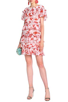 BADGLEY MISCHKA Tiered floral-print georgette mini dress
