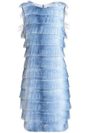 BADGLEY MISCHKA Fringed dégradé woven mini dress