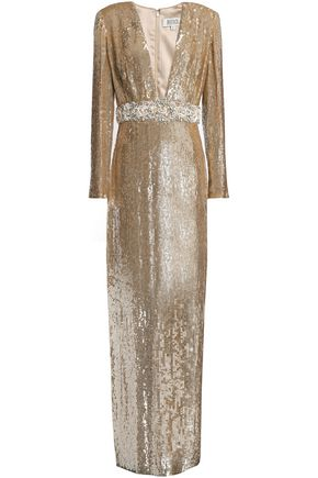 BADGLEY MISCHKA Embellished sequined tulle gown