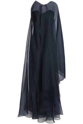 BADGLEY MISCHKA Cape-back organza-paneled crepe gown