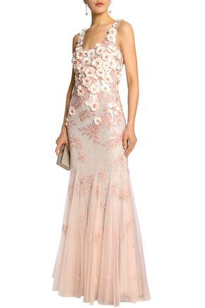 BADGLEY MISCHKA Fluted embellished tulle gown