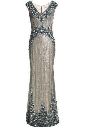 BADGLEY MISCHKA Floral-appliquéd embellished tulle gown