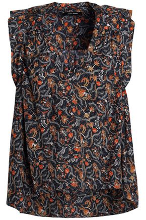 ISABEL MARANT Ruffle-trimmed floral-print silk crepe de chine top