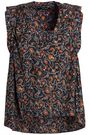 Ruffle Trimmed Floral Print Silk Crepe De Chine Top by Isabel Marant