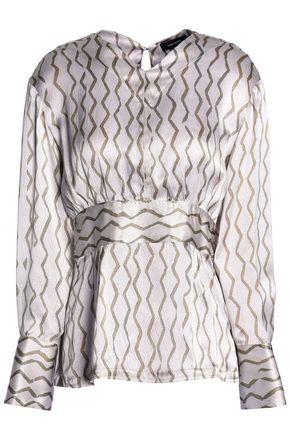 ISABEL MARANT ÉTOILE Printed hammered silk-satin blouse