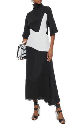ACNE STUDIOS Dilona two-tone frayed gauze and faille midi dress