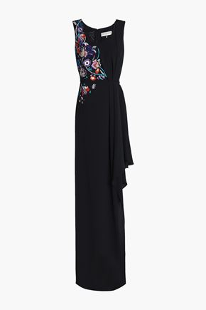 EMILIO PUCCI Asymmetric embellished silk-crepe gown