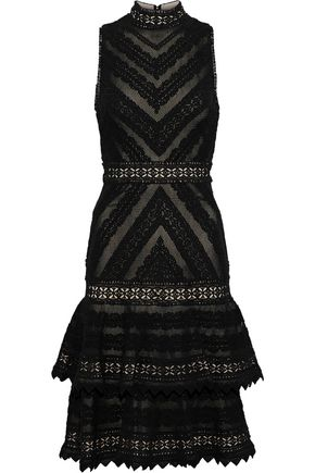 ALICE + OLIVIA Azita tiered cotton guipure lace dress