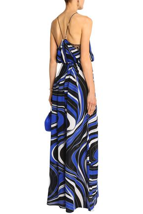 EMILIO PUCCI Sequin-embellished tulle-trimmed printed silk maxi dress