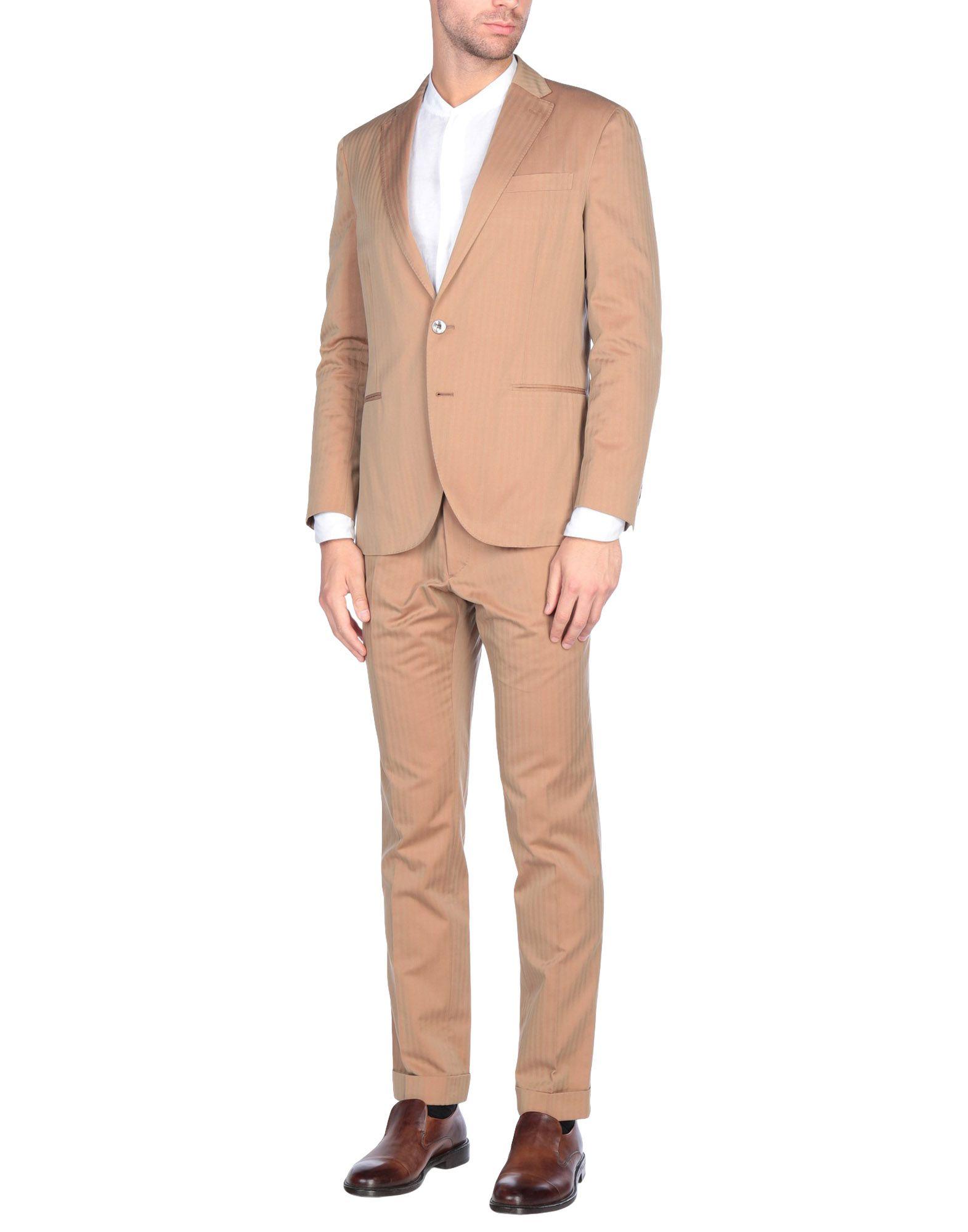《送料無料》BOGLIOLI メンズ スーツ キャメル 50 コットン 100%