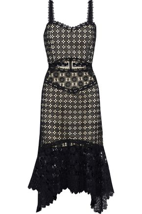 ALICE + OLIVIA Tamika fluted cutout guipure lace dress